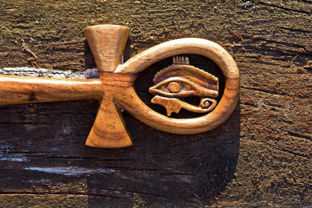 wooden ankh with eye of heru