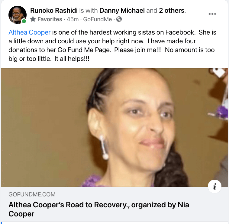 Help Dr. Rashidi Help Sis Althea Cooper, Someone Special To Our Community